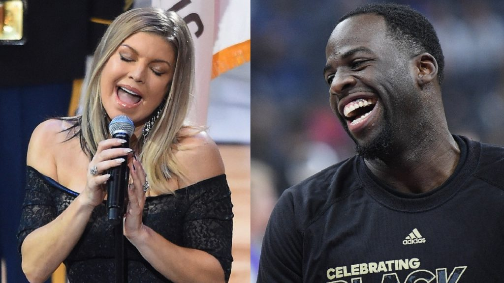 LOS ANGELES, CA - FEBRUARY 18: Fergie performs the US National Anthem during the NBA All-Star Game 2018 at Staples Center on February 18, 2018 in Los Angeles, California. (Photo by Jayne Kamin-Oncea/Getty Images) / SACRAMENTO, CA - FEBRUARY 04: Draymond Green #23 of the Golden State Warriors looks on laughing during warm ups prior to the start of an NBA basketball game against the Sacramento Kings at Golden 1 Center on February 4, 2017 in Sacramento, California. NOTE TO USER: User expressly acknowledges and agrees that, by downloading and or using this photograph, User is consenting to the terms and conditions of the Getty Images License Agreement. (Photo by Thearon W. Henderson/Getty Images)
