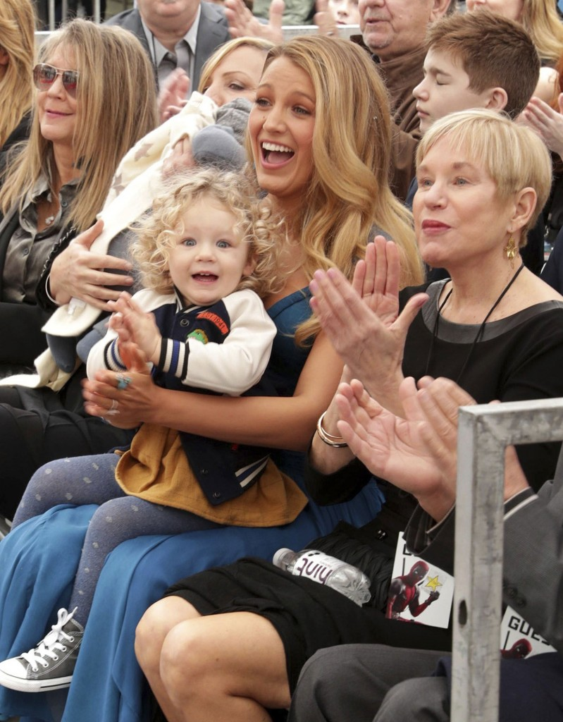 Blake Lively and her daughter James Reynolds seen at Ryan Reynolds Honored with Star on the Hollywood Walk of Fame on Thursday, Dec. 15, 2016, in Los Angeles. (Photo by Eric Charbonneau/Invision for Twentieth Century Fox/AP Images)